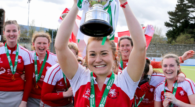 Glory trail: Pegasus captain Stephanie Quinn celebrates lifting the Irish League trophy