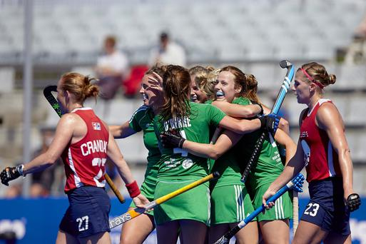 So close: Ireland celebrate victory against the USA which puts them one win away from their first Olympic Games