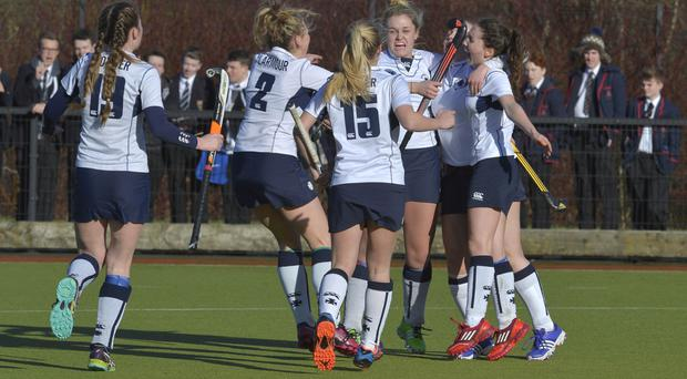 We feel good: The Methody girls celebrate reaching the Belfast Telegraph Schools' Cup final after beating RS Armagh