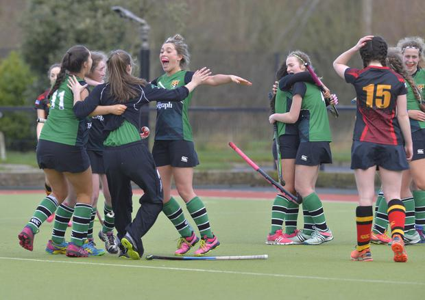 Upper class: Sullivan Upper girls celebrate beating Banbridge Academy in the Belfast Telegraph Schools' Cup