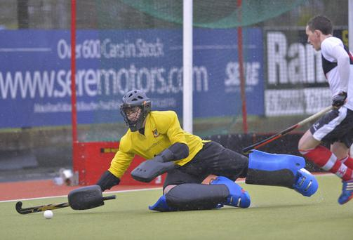 Net gains: Banbridge Academy goalkeeper Luke Roleston could be handed his second Irish Hockey League outing on the trot in the absence of injured regular Gareth Lennox when Monkstown come to Banbridge on Saturday afternoon
