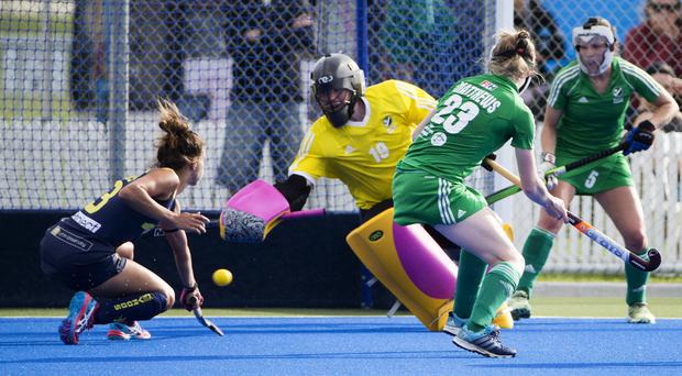 Spot on: Ayeisha McFerran saved two penalties in the shoot-out at the end of the thrilling 4-3 win over India