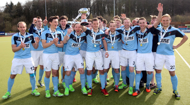 Champions: Lisnagarvey celebrate their IHL title after finishing 16 points ahead of the pack