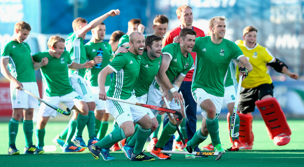 Victory roar: Ireland players celebrate their shoot-out win over France which virtually assures them of reaching the World Cup