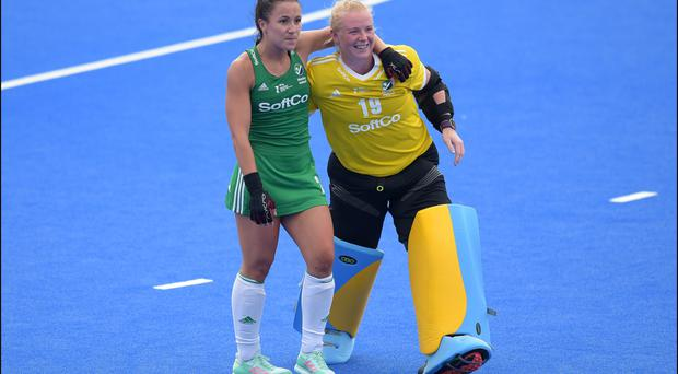 No worries: Ulster and Irish goalkeeper Ayeisha McFerran (right) doesn't fear a shoot-out if tonight's game against India ends all square