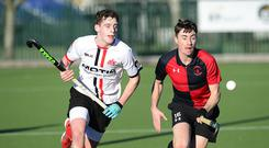 Forward thinking: Annadale's Tom Robson clashes with YMCA's Andrew Jones