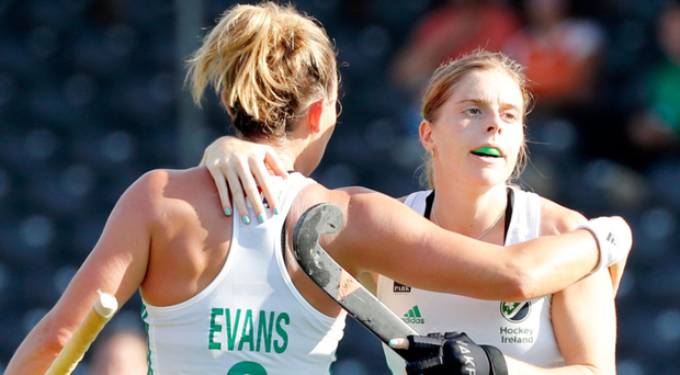 Goal-getters: Nikki Evans and Katie Mullan were on target for Ireland in the defeat of Russi