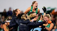 Roaring success: Ireland captain Katie Mullan (top) leads the celebrations after securing qualification for Tokyo 2020