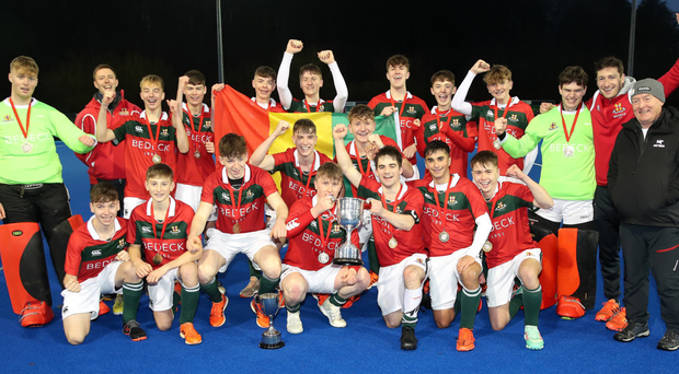 Champions: Friends' School celebrate with the McCullough Cup after their win over Lisburn rivals Wallace High
