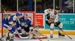 Full flight: Belfast Giants ace Jordan Smotherman takes on the Fife Flyers