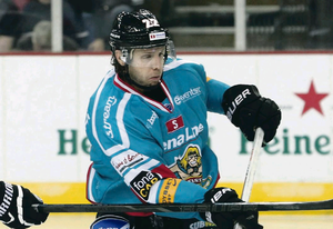 Crucial strike: Kevin Saurette grabbed Giants' first goal in win in Cardiff last night