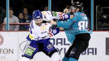 Gloves off: Giants ace Ciaran Long battles with Justin Hamonic of the Blaze