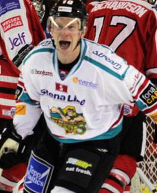 Happy man: Dustin Whitecotton enjoys one of the Belfast Giants' goals