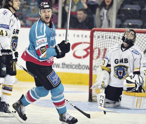 Goal getter: Belfast Giants' Jeffrey Szwez celebrates scoring against the Nottingham Panthers earlier in the season