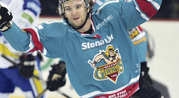 Darryl Lloyd celebrates his goal for the Belfast Giants in Saturday night's win over Coventry Blaze