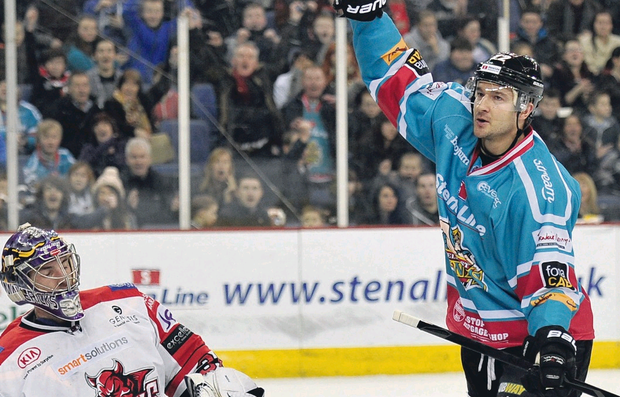 Jeffrey Szwez celebrates scoring the Belfast Giants first against the Cardiff Devils at the Odyssey on Saturday night – the first of 18 goals for the team over the weekend