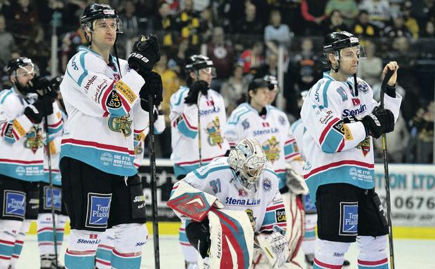 Belfast Giants team after Challenge Cup was snatched away in penalty shoot-out