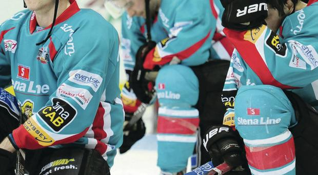 No happy ending: Dejected Belfast Giants players Dustin Whitecotton and Calvin Elfring slump to their knees after their Play-off final defeat to the Sheffield Steelers