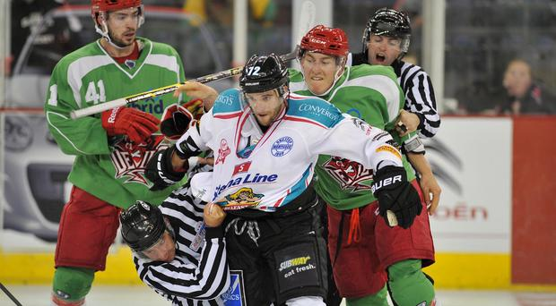 Quick off the mark: Darryl Lloyd scored for the Belfast Giants as they got their defence of the Elite League title off to a winning start in Dundee