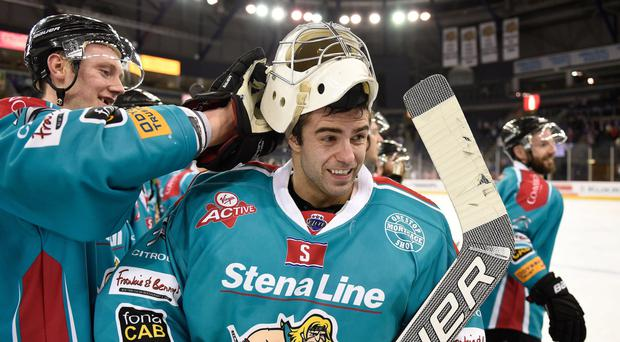 Giant performance: Carsen Chubak pulled out all the stops to keep a shut-out and help the Belfast Giants to victory