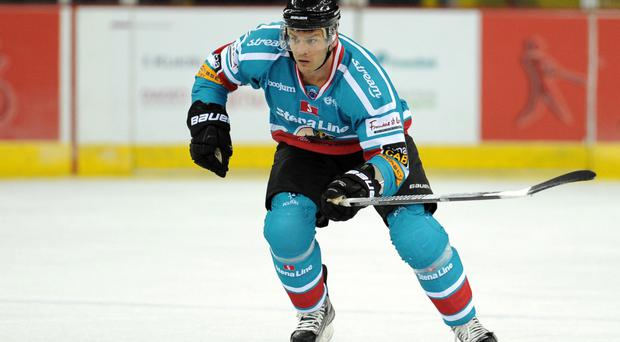 On target: Adam Keefe scored for the Giants but they still lost 5-3 to Cardiff Devils