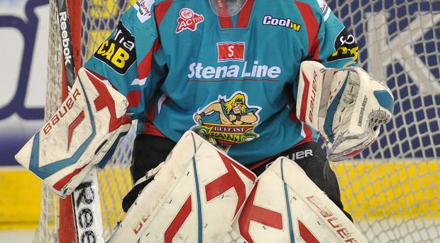 Net gain: Stephen Murphy is back in the frame for the Belfast Giants who face the Sheffield Steelers tonight