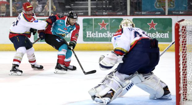 Big moment: Blair Riley struck twice late on as the Giants defeated Dundee Stars 5-3
