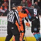 Battle: Belfast Giants' Jim Vandermeer shows his fighting spirit