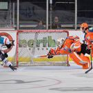 Late show: Sebastien Sylvestre slots home the Giants fourth and winning goal in Sheffield last night