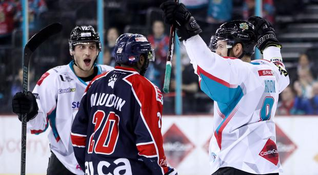 Net gain: Belfast Giants' Kyle Baun (left) celebrates as Lewis Hook (right) scores against Medvescak Zagreb last night