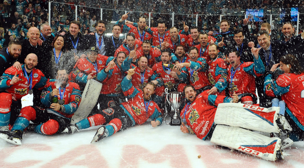 Challenge Cup winners: Belfast Giants celebrate with the trophy