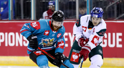 Close battle: Belfast Giants' Liam Reddox with Augsburger Panther's David Stieler