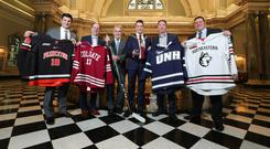To the four: Representatives from the competing sides at the Friendship Four and Friendship Series at yesterday's launch at Belfast City Hall. From left: Stavros Paskaris (assistant coach, Princeton), Steve Hagwell (commissioner, ECAC Hockey), Robert Fitzpatrick (CEO, Odyssey Trust), Cllr John Finucane (Lord Mayor of Belfast), Steve Metcalfe (deputy director of athletics, University of New Hampshire), Marshall Foley (executive senior associate athletics director, Northeastern)