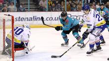Get in: Belfast Giants' Ben Lake finds the net against Coventry Blaze yesterday
