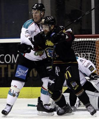 Up close: Giants' Robby Sandrock (left) tussles with Guilleme Doucet last night in Nottingham