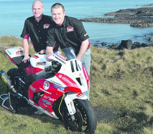 PACEMAKER, BELFAST, 28/2/2013: Vauxhall KMR Kawasaki team boss Ryan Farquhar with new recruit to the squad Brian McCormack pictured at the North West 200 course this week. PICTURE BY STEPHEN DAVISON
