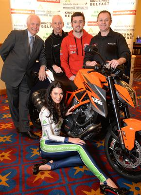 Showtime: Promoter Billy Nutt is joined by Michael Dunlop, Billy Bryce of Black Horse Finance, Phillip McCallen and Adelaide girl Zara Shaw at the launch of the 2015 Adelaide/ Black Horse Motorcycle Festival in Belfast