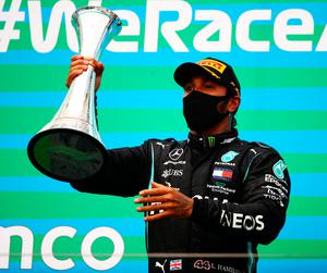 Lewis Hamilton on the podium in Hungary