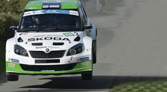 Esapekka Lappi and Janne Ferm in their Skoda Fabia S2000 during Special Stage 1
