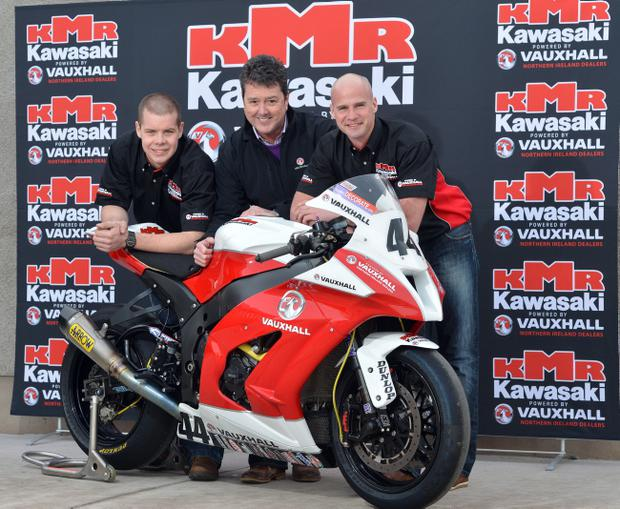 PACEMAKER, BELFAST, 2/2/2013: KMR Kawasaki's Ryan Farquhar and Jamie Hamilton launch the new 2013 team with Gordon Hannen of Vauxhall. PICTURE BY STEPHEN DAVISON