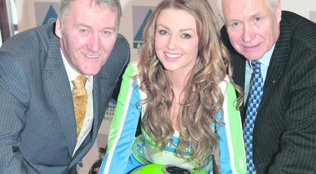 Megan Green, Sam Geddis of Adelaide and Billy Nutt (right) at the launch of Adelaide Motorcycle Festival
