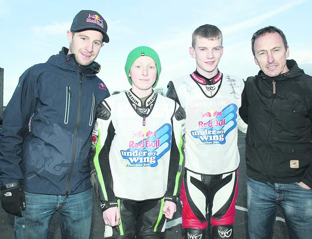 Red Bull Rookie winners Kia McGreevy (second left) from Ballynahinch and Kevin Keyes, from Offaly, flanked by top riders Jonathan Rea (left) and Jeremy McWilliams at Nutts Corner Raceway