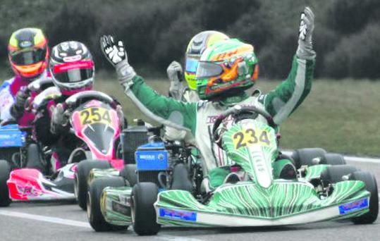 Charlie Eastwood, motorsport's rising star, celebrates his recent victory in Genk, Belgium