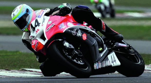 Jamie Hamilton on his superbike.