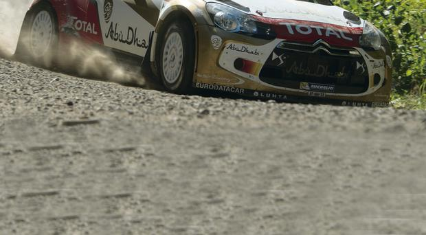 Testing time: Kris Meeke gets to grips with his Citroen DS3 during a pre-Rally of Finland test session
