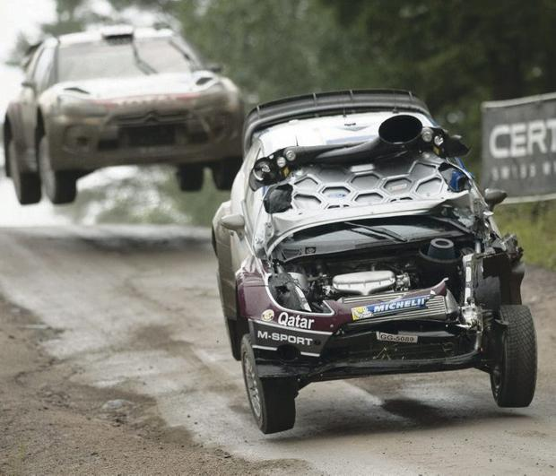 Over and out: Kris Meeke crashed out of Rally Finland