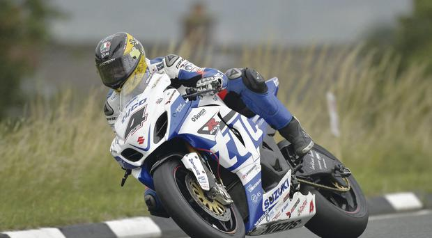 Pole man: Guy Martin on his way to Superbike pole