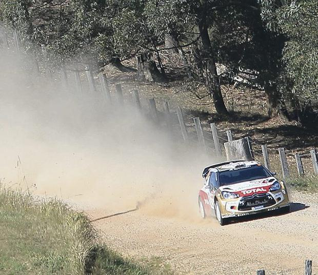 Hot and bothered: Kris Meeke in action in Rally Australia, which he failed to finish