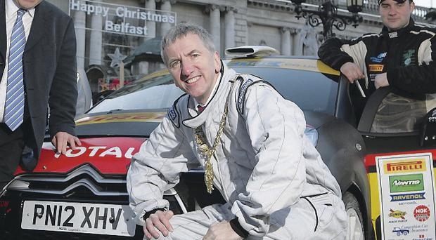 Support: Belfast Lord Mayor Máirtín Ó Muilleoir at the City Hall to launch the Belfast stages of the 2014 Circuit of Ireland
