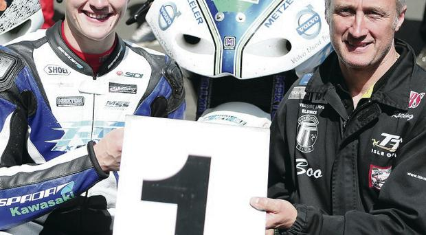 Family fortunes: Dean Harrison and his father Conrad celebrate their triumphant TT adventure